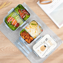 Microwave Lunch Box Wheat Straw Food Storage Container Kids School Office Portable Bento Box