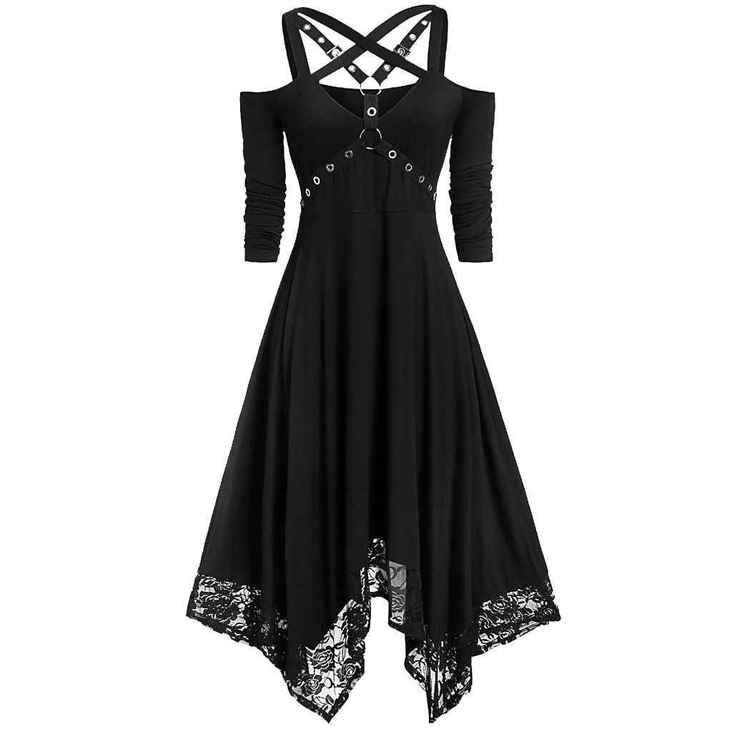 Halloween Gothic Dress Women Lace Sequined Off Shoulder Half Sleeve Black Dress Punk Streetwear Vestidos Mujer Ladies Dresses