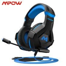 Mpow eg9 estéreo gaming headset 40mm drivers com microfone in line controle rgb jogos fones de ouvido macio para ps4 switch pc xbox