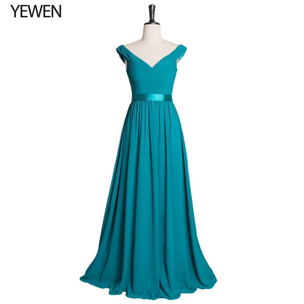 Robe De Soiree 2019 Elegant A Line V Neck Ruched Formal Evening Dress Long Blue Formal Wedding Party Gowns LT2727