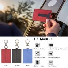 حامل بطاقة مفتاح من الجلد سلسلة غطاء حامي لطراز تسلا 3 مصنوع من مواد إكسسوارات سيارات متينة عالية الجودة منتج