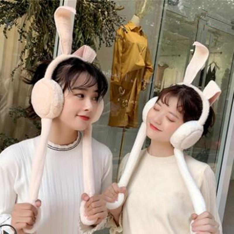 Women New Plush Moving Rabbit Ear Earmuffs Winter Warm Funny Ear Girls Plush Toys