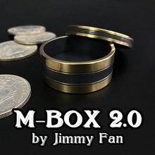 M-BOX 2,0 de Jimmy Fan (38mm) monedas parecen penetrar Magia mago ilusión de cerca truco caja de monedas Okito accesorios de trucos de Magia