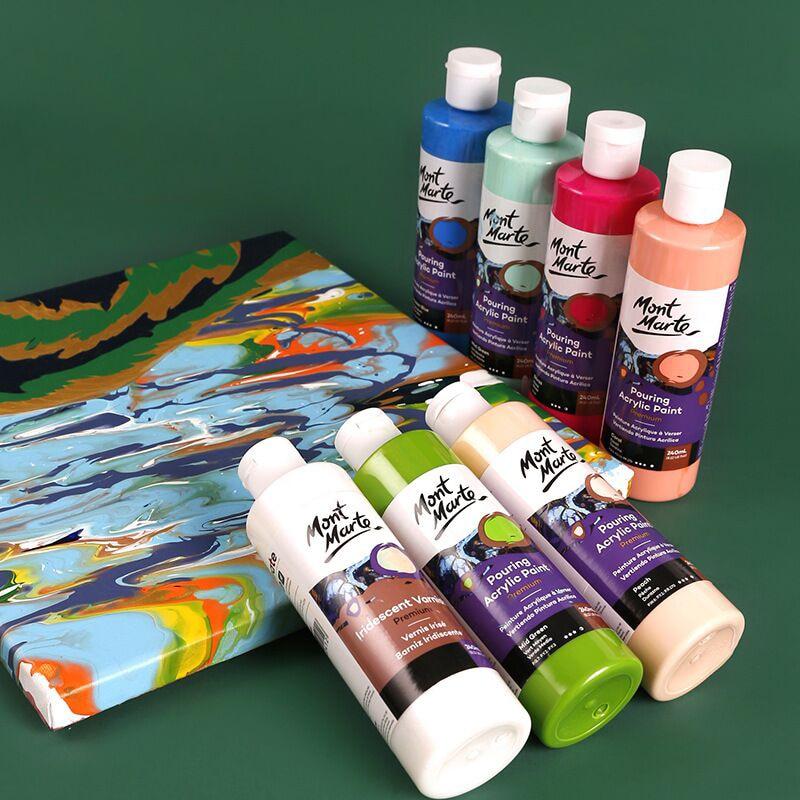 120/240ML 24 Color Pigment Acrylic Paint Set Fluid Paint Acrylic Canvases For Painting Pouring Medium Big Oil Paints Drawing Art