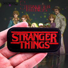 Nicediy Letter Stranger Things Embroidered Patch Iron On Patches For Clothes UFO Skull Bags Applique Badge Decoration