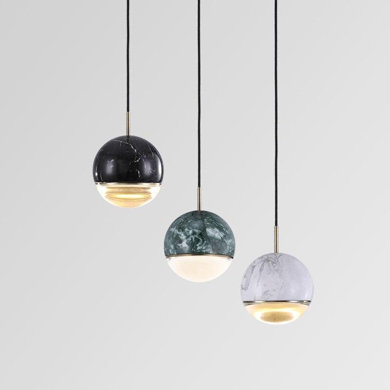 Postmodern Creative Marble Single Head Small Chandelier Restaurant Bar Cafe Fashion Simple LED Crystal Ball Chandelier