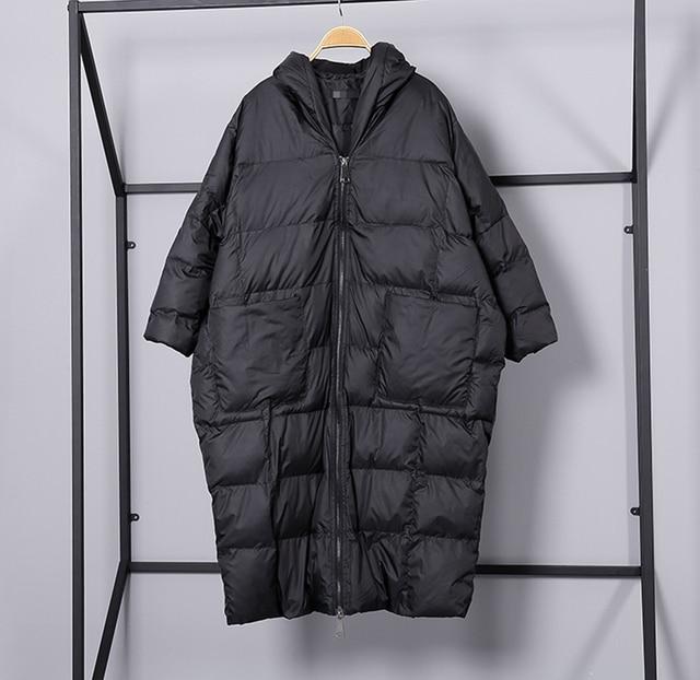[EAM] 2020 nouveau hiver à capuche à manches longues couleur unie noir coton rembourré chaud ample grande taille veste femmes parkas mode JD12101 6