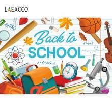 Laeacco Снова в школу Мультяшные школьные принадлежности фон