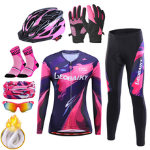 Suit Bicycle-Clothing Sport-Wear Winter Jersey-Set Road-Bike Thermal Fleece Women