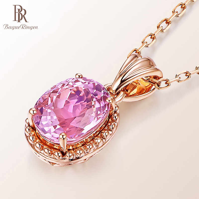 Bague Ringen Silver 925 Jewelry Oval shaped Pink Tourmaline Pendant Necklace for Women Rose Gold Color Sweet Dating Geometry Gif