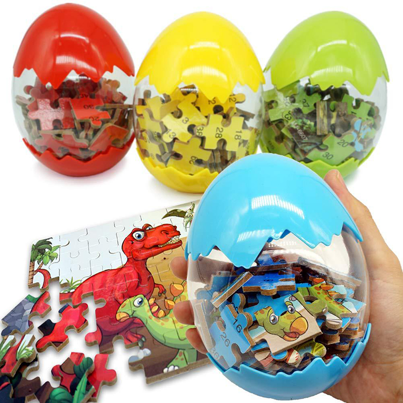 60Pcs Wooden Puzzles Dinosaur Toys Big Dinosaur Egg Packaging Puzzle Jigsaw Board Animal 3D Puzzle Educational Toys Kids Gifts 2