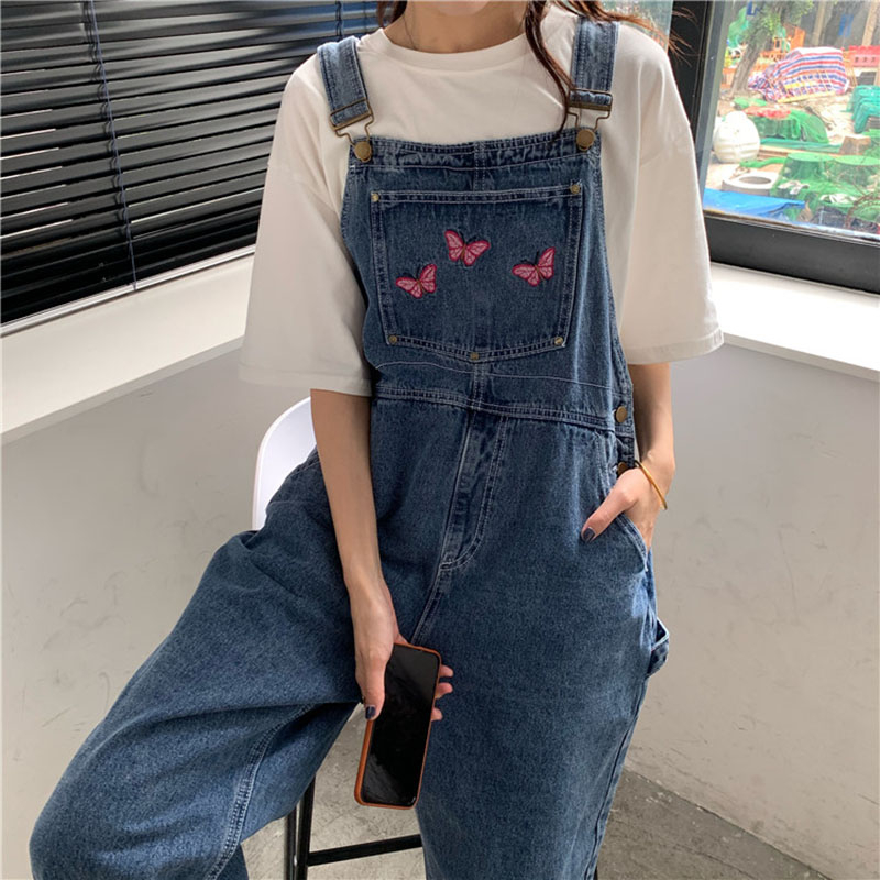 Casual S-4XL Oversize Jeans for Women Vintage Wash Denim Jumpsuit Loose Large Pocket Rompers Cute Butterfly Embroidery Overalls