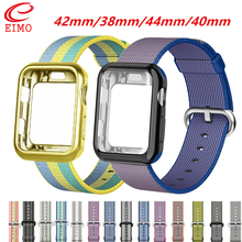 Case+Woven Nylon strap For apple watch bands 4 band 44mm/40mm iwatch 42mm correa 38 mm bracelet watchband 3/2/1
