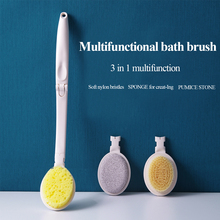 Bath Body Brush Set 3 in 1 Foldable Shower Brush Back Scrubber with Brush Sponge Pumice Head Exfoliating or Dry Skin Brushing