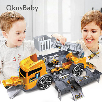 2019 New Creative Baby Play Toy Vehicle Parking Lot DIY Assemble Fire Rescue Truck Engineer Kit Children Collection Car Model