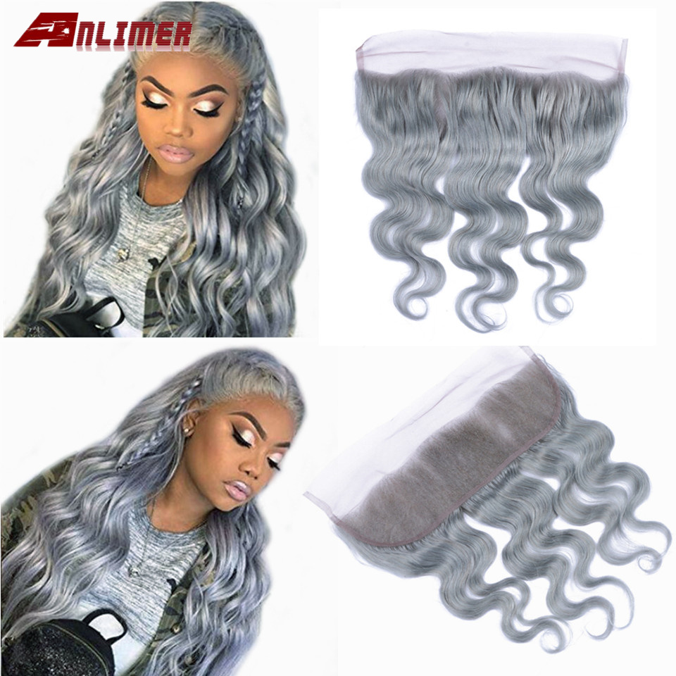 Gray/613 Blonde Brazilian Body Wave Lace Frontal Grey/613 13*4 Ear To Ear Lace Frontal Closure Remy Human Hair Frontal 8-20 Inch image