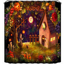 цена на Scary Night Pumpkin Ghost 2019 Halloween Curtains Waterproof Polyester Fabric Shower Curtain Bathroom Fabric Bathtub Art Decor