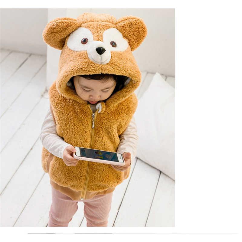 Duffy Beer Katoenen Vest Winter Jas Pluizige Kostuum Kerst Halloween Gift Voor Baby Kinderen Jongens Meisjes Mouwloze Kap Cartoon