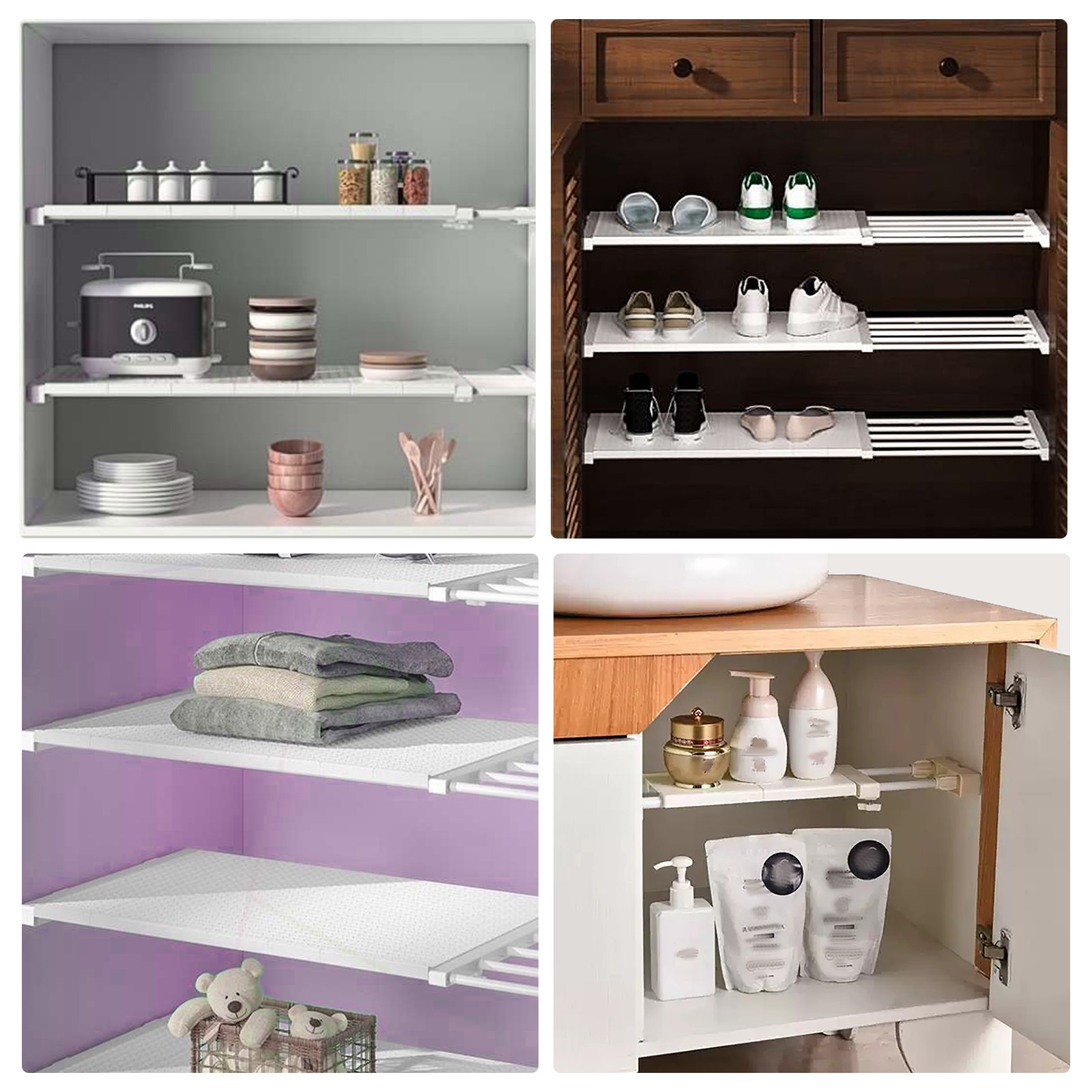 Adjustable Closet Organizer Storage Shelf Space Saving Wardrobe Wall Mounted Rack Kitchen Home Decorative Cabinet Holders