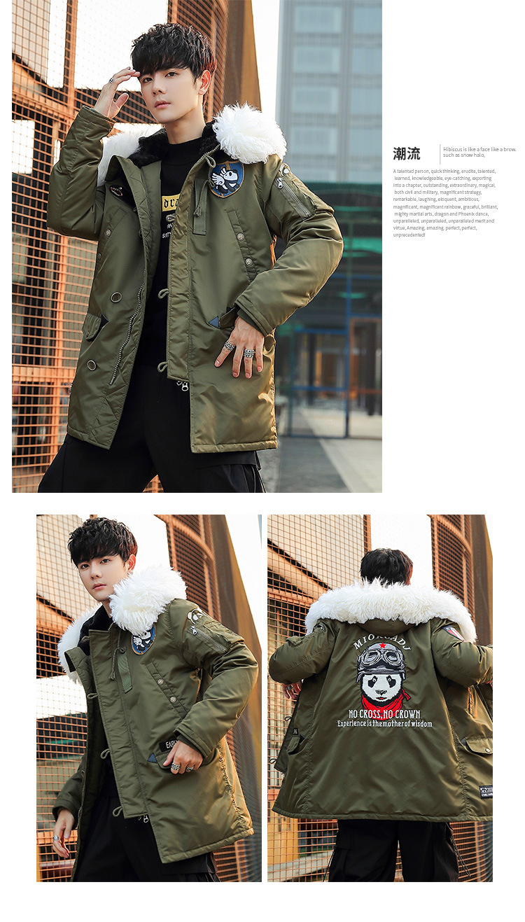Canada Winter down Jacket Men's Mid-length Large Fur Collar Popular Brand Thick Trend Panda Youth Couples Coat
