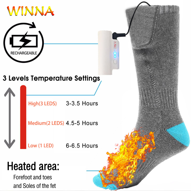 Unisexe électrique chaussettes chauffantes avec batterie Rechargeable hiver chaud Ski Camping randonnée chauffe-pieds thermique coton chaussettes taille unique