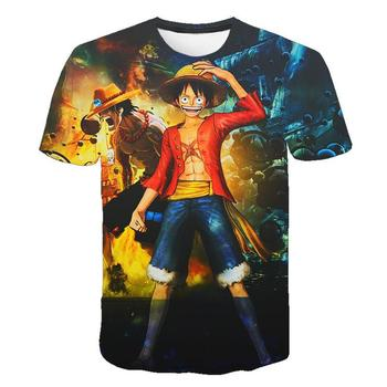 Funny One Piece T Shirt 3d Japan harajuku Anime Men Short Sleeve T-shirt Luffy Shirt Printed Tshirt men #8217 s Clothing Tops amp Tees tanie i dobre opinie Krótki O-neck Suknem Na co dzień Drukuj