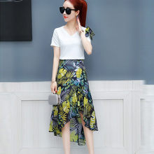 Floral Printed Two Piece Set Crop Top And Skirt Woman Fashion 2020 Bohemia Beach Women Skirts Matching Sets Костюм E3(China)