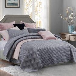 PHF łóżko kosmetyczne obejmuje i narzuty aksamitna pościel zestaw luksusowe 3 sztuk miękkie lekkie pościel królowej King Size szary różowy srebrny