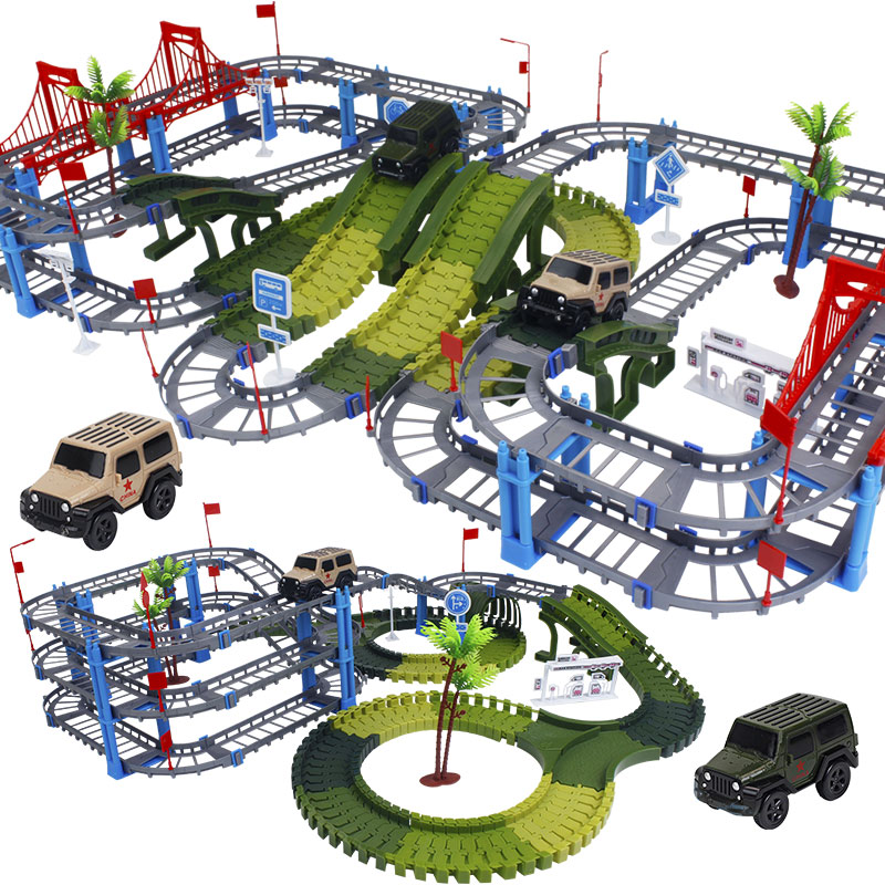 Military Play Set Railway Magical Racing Track Bend Flexible Glowing Race Army Flash Track Car DIY Educational Toys For Children