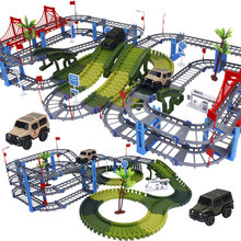 Military Play Set Railway Magical Racing Track Bend Flexible Glowing Race Army Flash Track Car DIY Educational Toys For Children new magic track flexible rail racing car model railway road magical truck pull back tracks cars set diy toys for children gifts