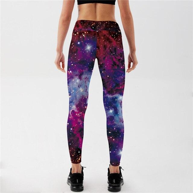 Qickitout Leggings Women's Star Universe Shines Galaxy Purple 3D Print PANTS Women High Waist Pants Trousers Fitness Top Sales 3