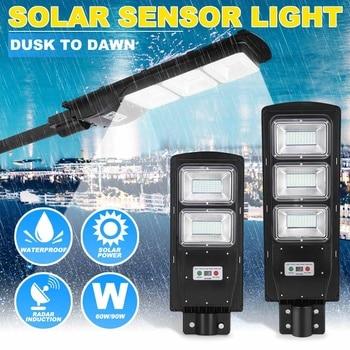 90W LED Solar Street Light 60W Wall Garden Lights Waterproof Outdoor Lighting with Remote Dusk to Dawn PIR Motion Sensor 1