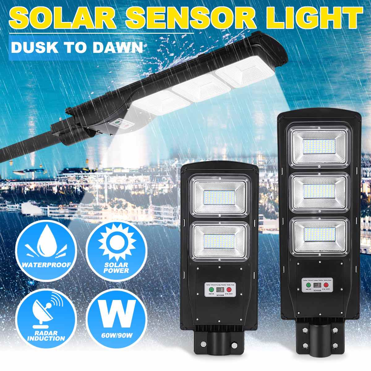 90W LED Solar Street Light 60W Wall Garden Lights Waterproof Outdoor Lighting With Remote Dusk To Dawn PIR Motion Sensor
