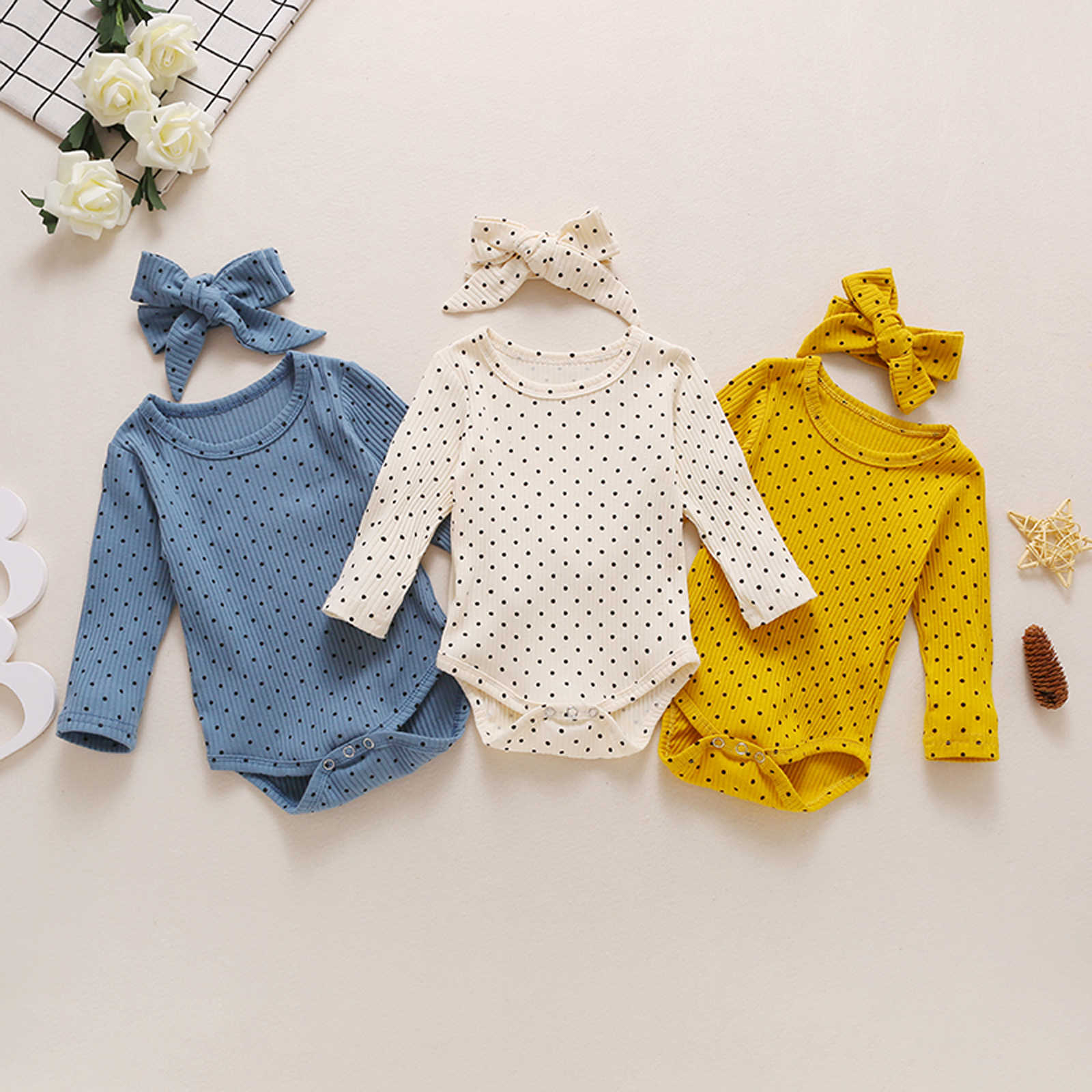 Toddler Baby Girl Spring Autumn Rib Top Bodsuits Headband Long Sleeve Crotch Buttons Home Sleeping Polka Dot Printed (2pcs Suit)