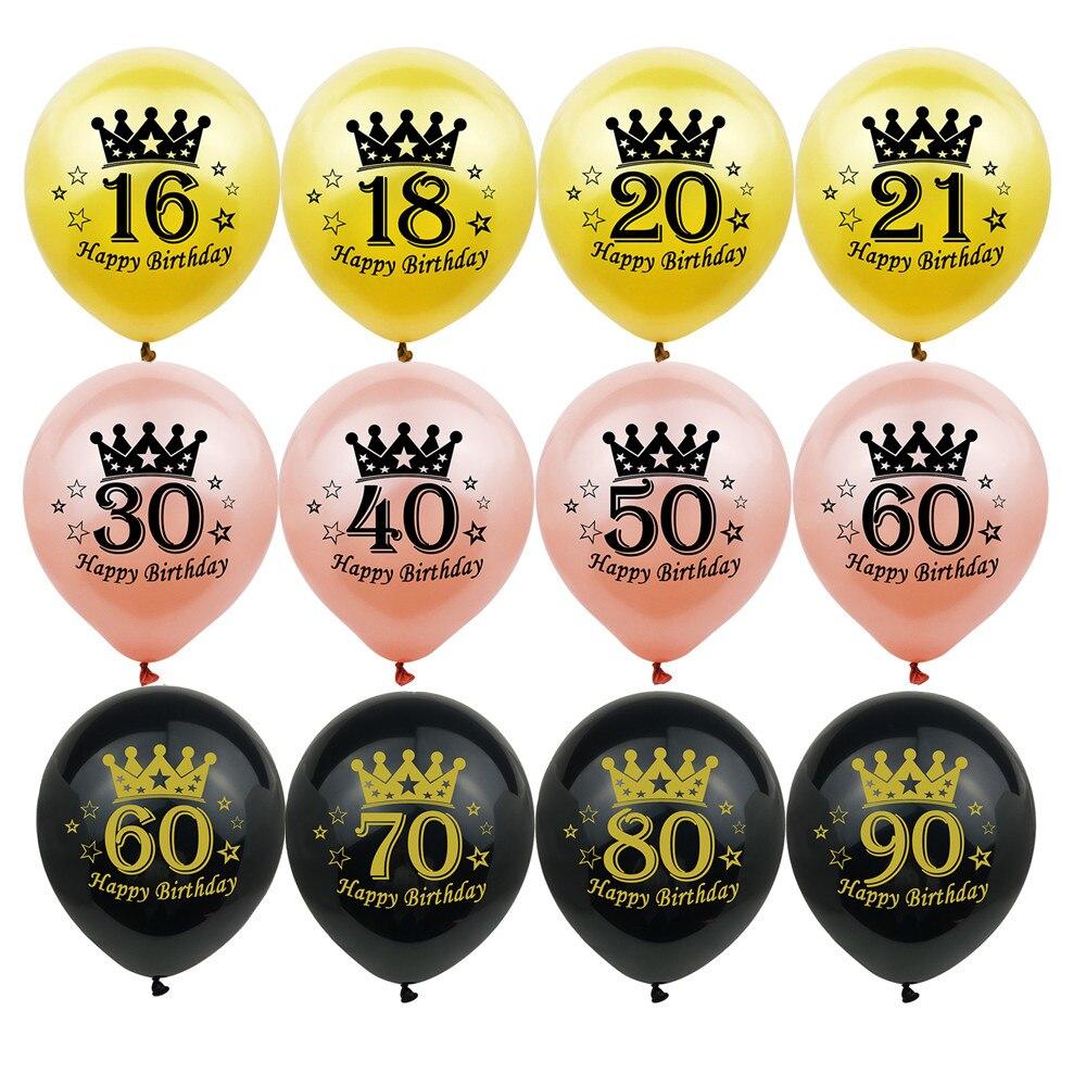 10 шт., латексные шары «С Днем Рождения» цвета розового золота с черной короной, 20, 30, 40, 50, 60, 70 лет, для дня рождения, свадьбы, годовщины Вечерни...