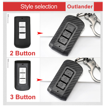 Carbon Fiber Auto Fernbedienung Schlüssel Fall Abdeckung Für Mitsubishi Outlander Lancer EX ASX Pajero Sport L200 Eclipse Kreuz Smart 2/3 taste