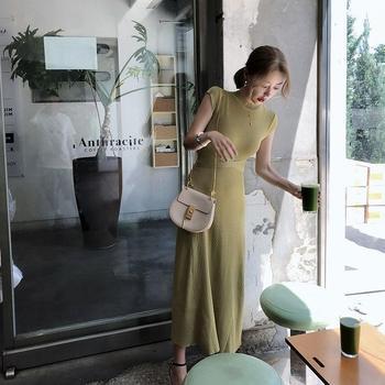 2020 Summer Korean Women Bodycon Robe Knitted Maxi Dress Elegant Ladies Slim Sweater Sleeveless Long Party Dresses Vestidos S84 1