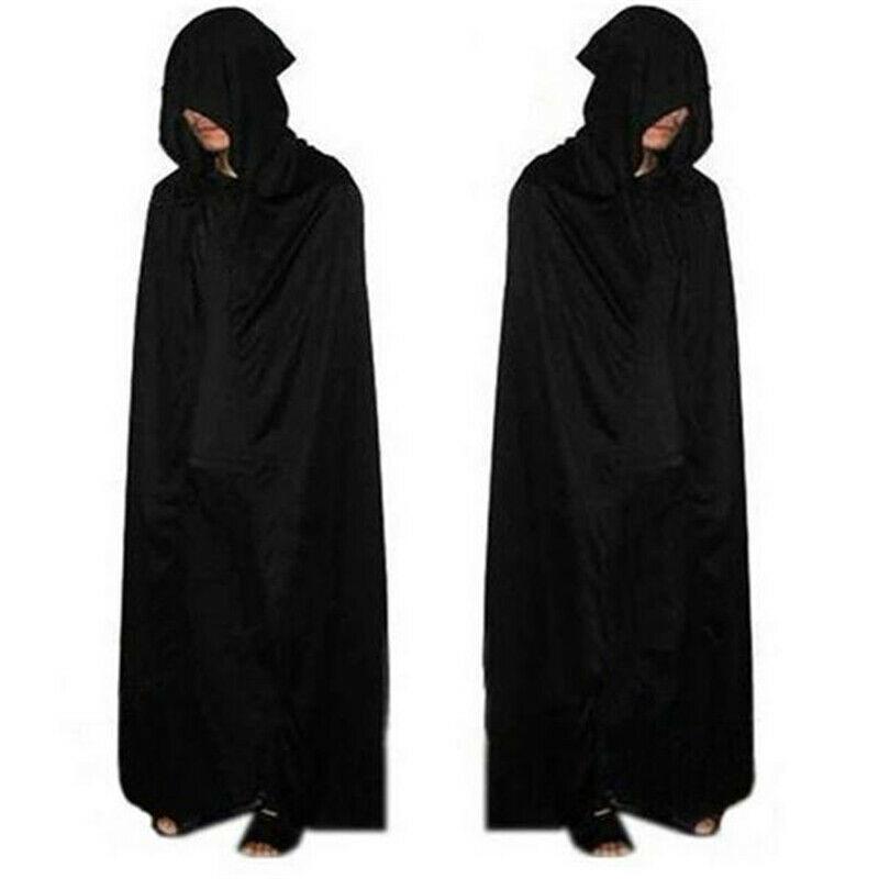Halloween Witch Costume Cloak Hooded Cape Adult  Unisex Robe Witch Cloak Black Cape