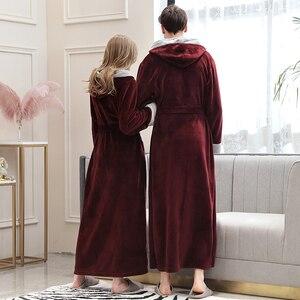 Image 2 - Frauen Winter Super Lange Warme Flanell Bademantel Plus Größe Liebhaber Pelz Rosa Bad Robe Braut Weiche Nacht Dressing Kleid Männer nachtwäsche