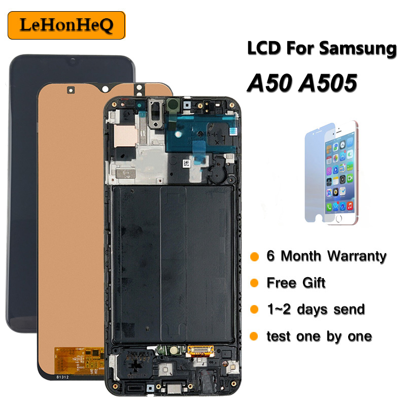 Test A50 Display For Samsung galaxy A50 2019 A505F/DS A505F A505FD A505A Touch Screen Digitizer Assembly with frame