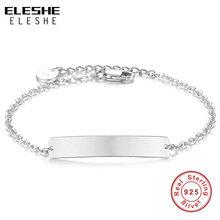 ELESHE-Pulseras personalizadas de Plata de Ley 925 para mujer, abalorio de brazalete con nombre grabado, regalo de joyería de San Valentín
