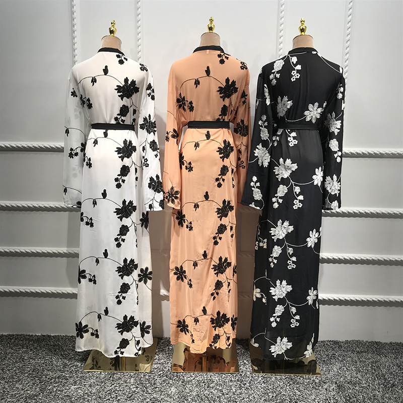 Chiffon Dubai Abaya Kimono Islam Muslim Hijab Dress Abayas For Women Kaftan Caftan Marocain Turkish Islamic Clothing Robe Coat Women Women's Abaya Women's Clothings cb5feb1b7314637725a2e7: Black cardigan|Orange cardigan|White cardigan