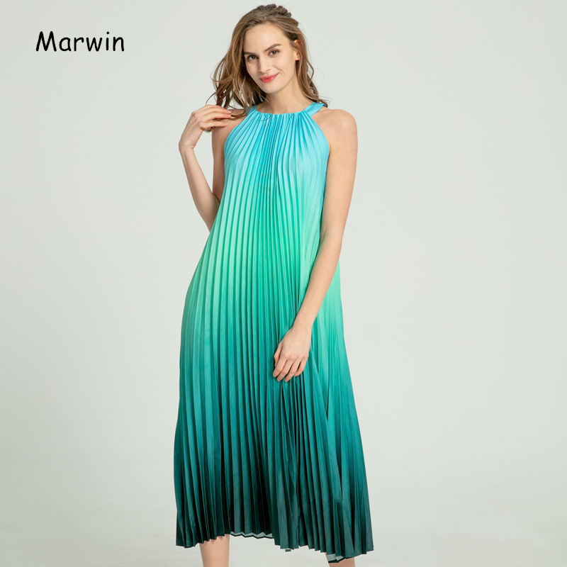 Marwin 2020 New-Coming Spring Summer Spaghetti Strap Sleeveless A-Line Ankle-Length O-Neck Women Dresses Holiday Beach Style