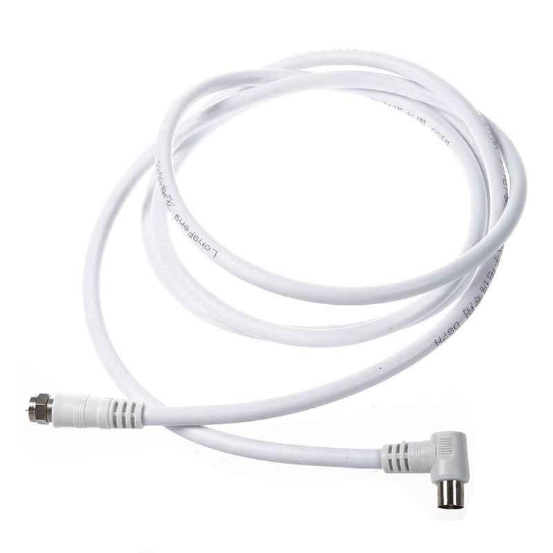 Белый 6,6 фута 9,5 мм 90 градусов штекер к F Тип Мужской коаксиальный ТВ спутниковая антенна кабель