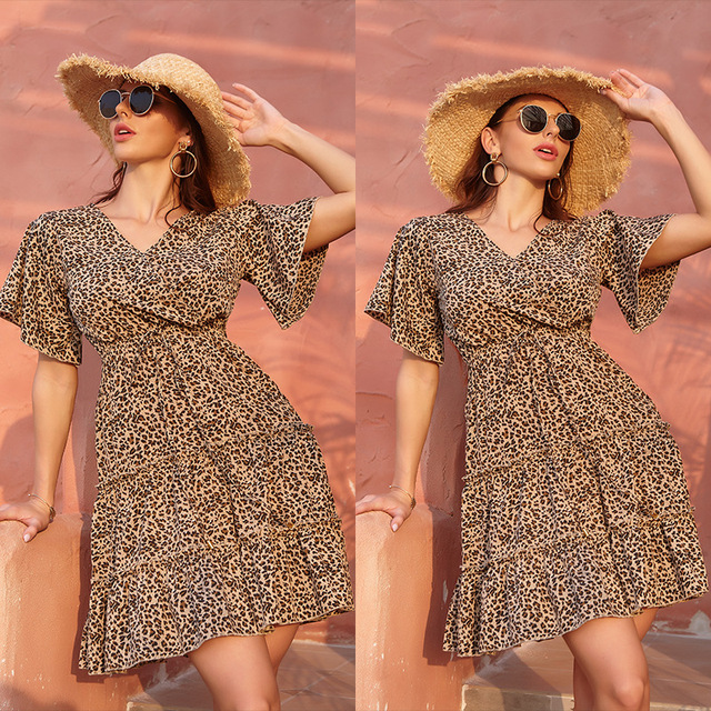 Khaki leopard print women's dress