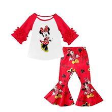 Горячая Распродажа, комплект с расклешенными штанами с изображением Минни Маус, популярный детский комплект высокого качества, осенний комплект со складками для девочек