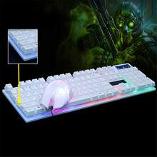 Mechanical Wired Keyboard Mouse Set With LED Light Game Mouse Keyboard Combo For Desktop Computer Accessories(China)