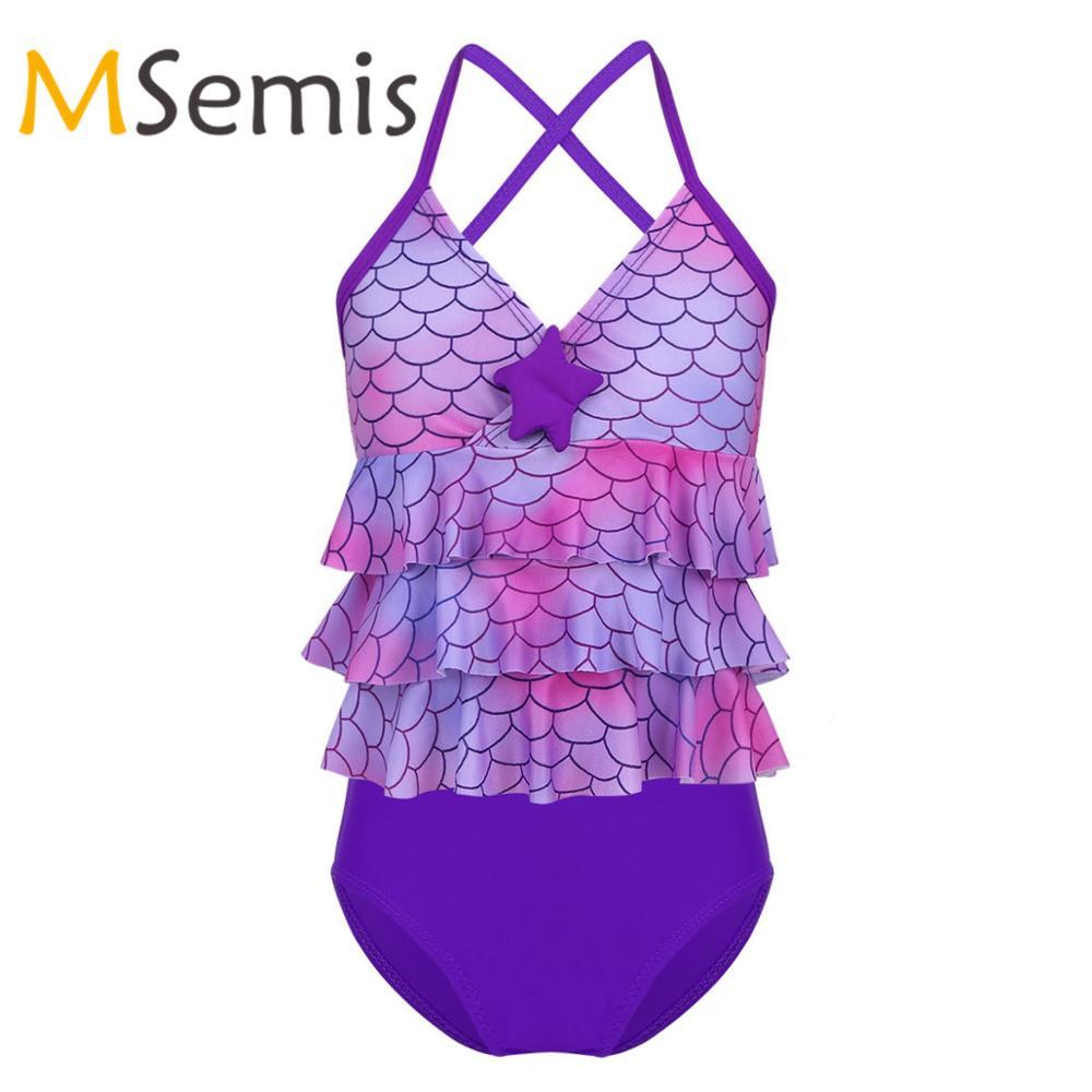 Kids Girls Tankini Swimsuit Mermaid Scales Swimwear Starfish Swimsuit Tops with Swim Shorts Children's Swimming Bathing Suit