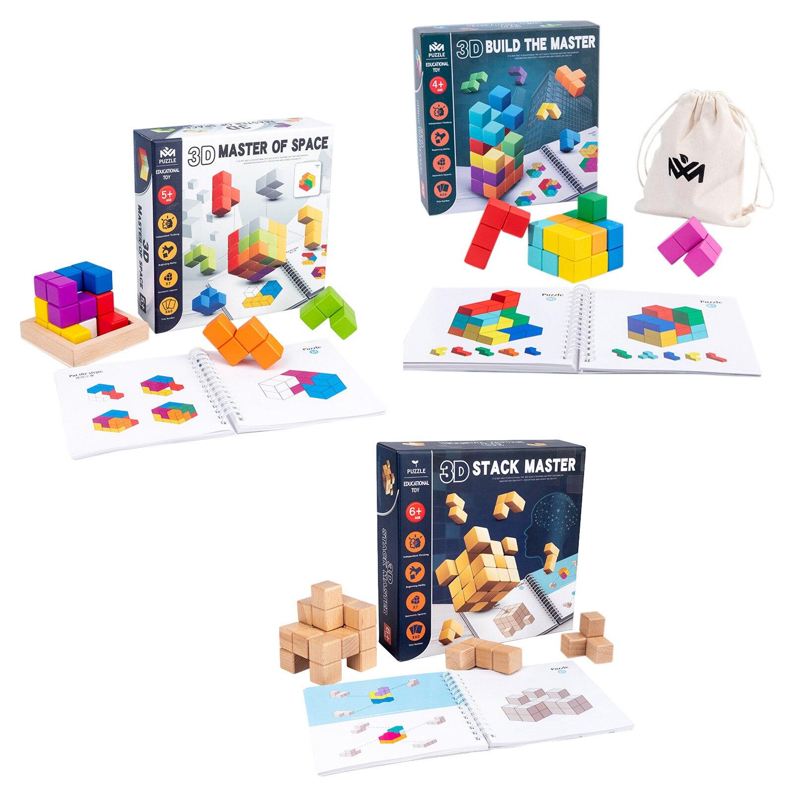 Caixa de quebra-cabeças de madeira colorida, empilhamento