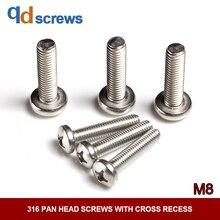 316 M8 Pan head screws with cross recess phillips round screw GB818 DIN7985 ISO 7045